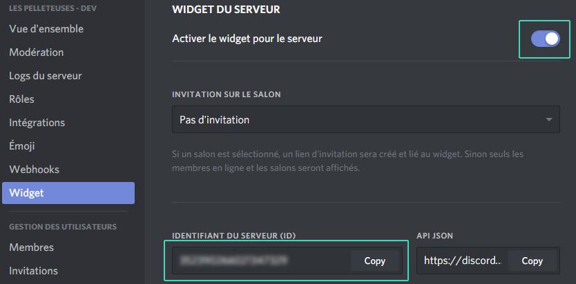 id discord pour intégration widget